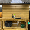 The outdoor kitchen provides instant hot water in a sink. We also provide eco-friendly washing up liquid and cleaner. Recycling bins are provided and we compost your food waste on site!